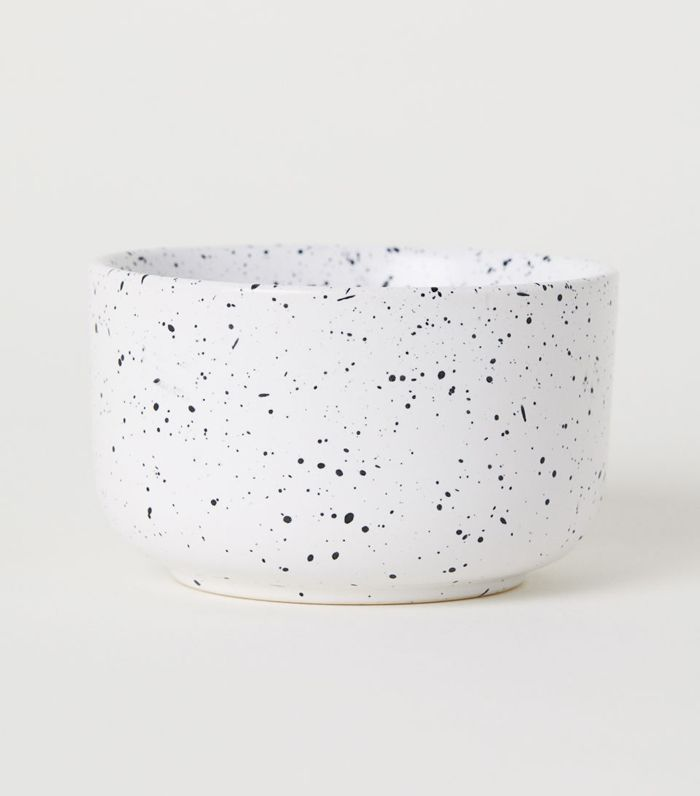 - Hand-painted Stoneware Bowl - White/black dotted - H & m Home