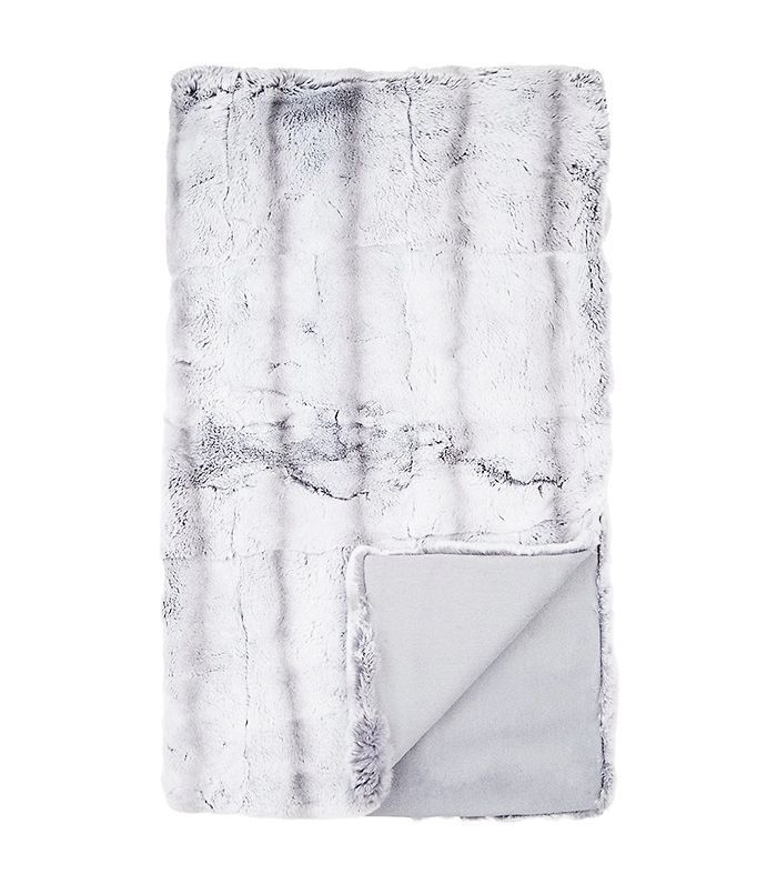 Chinchilla-Striped Rabbit Fur Throw