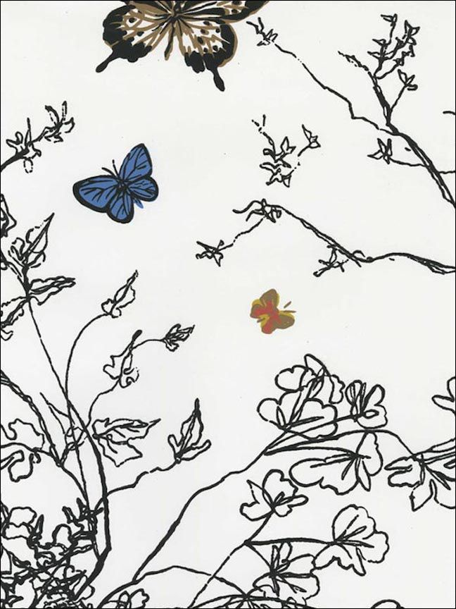Birds and Butterflies Multi on White Wallpaper