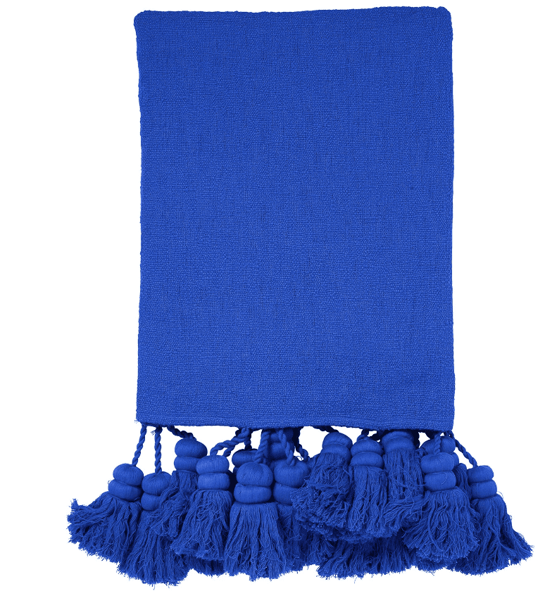 Kip & Co blue tassel throw