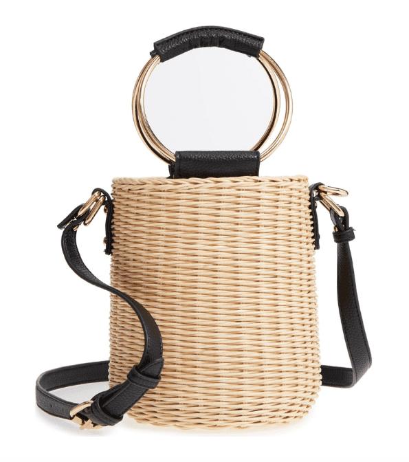 Malibu Skye Metal Handle Straw Bucket Bag -