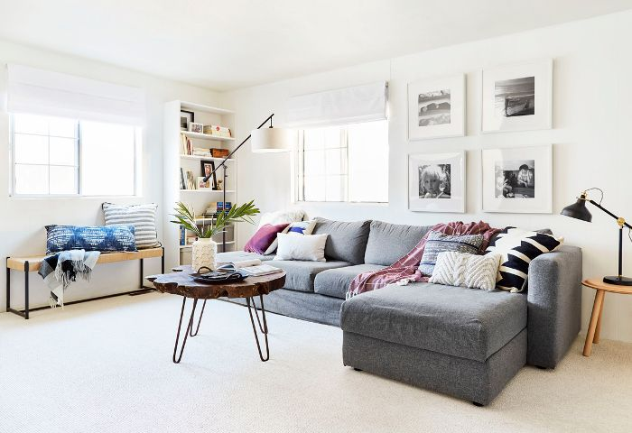 White Living Room with sectional sofa