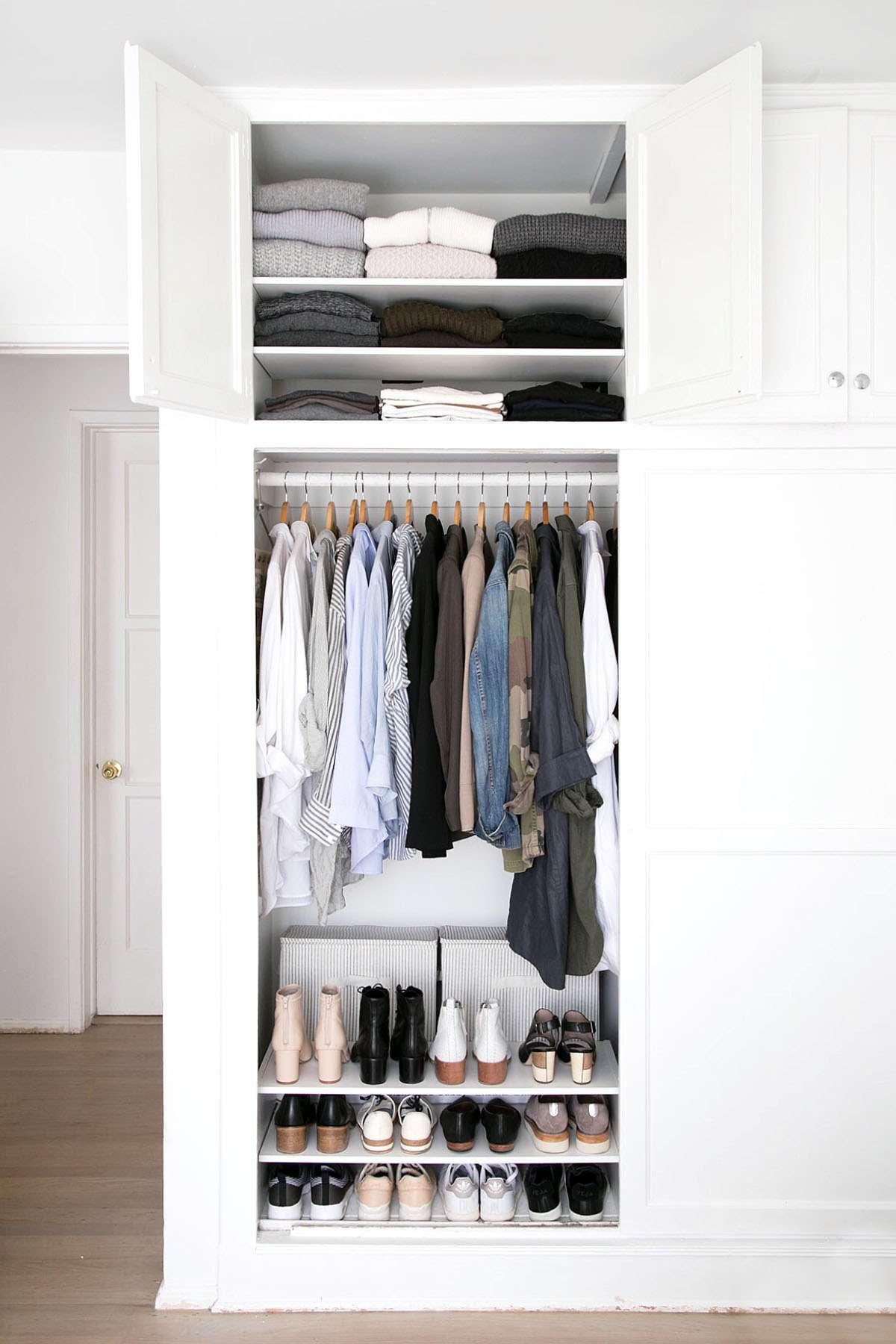 Neutral, minimal wardrobe