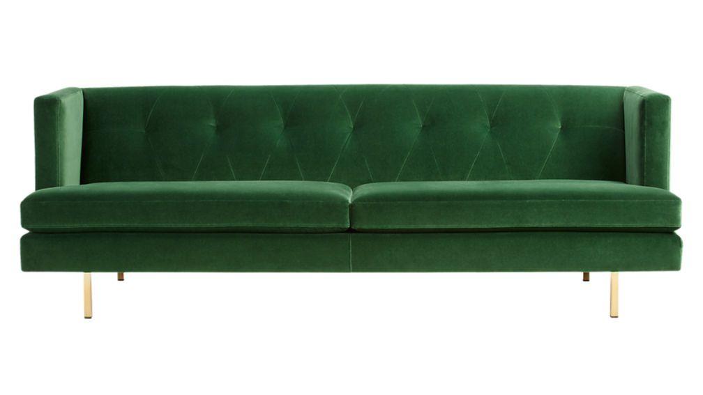 CB2 Avec Emerald Green Sofa