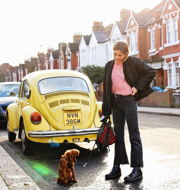 a women walking her dog