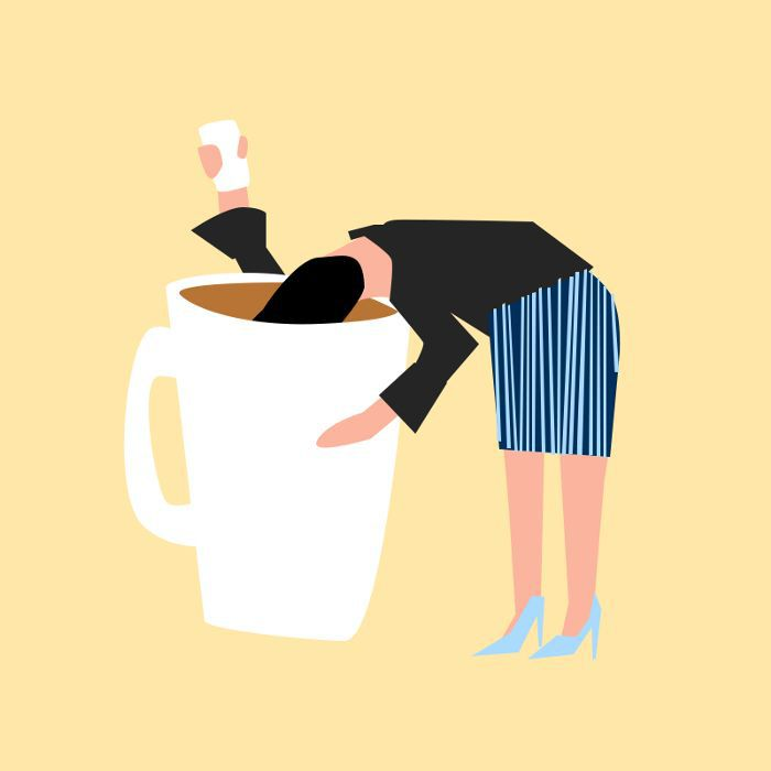 an illustration of a woman bent over a huge coffee cup with her head inside it