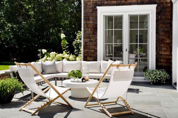 backyard with white furniture