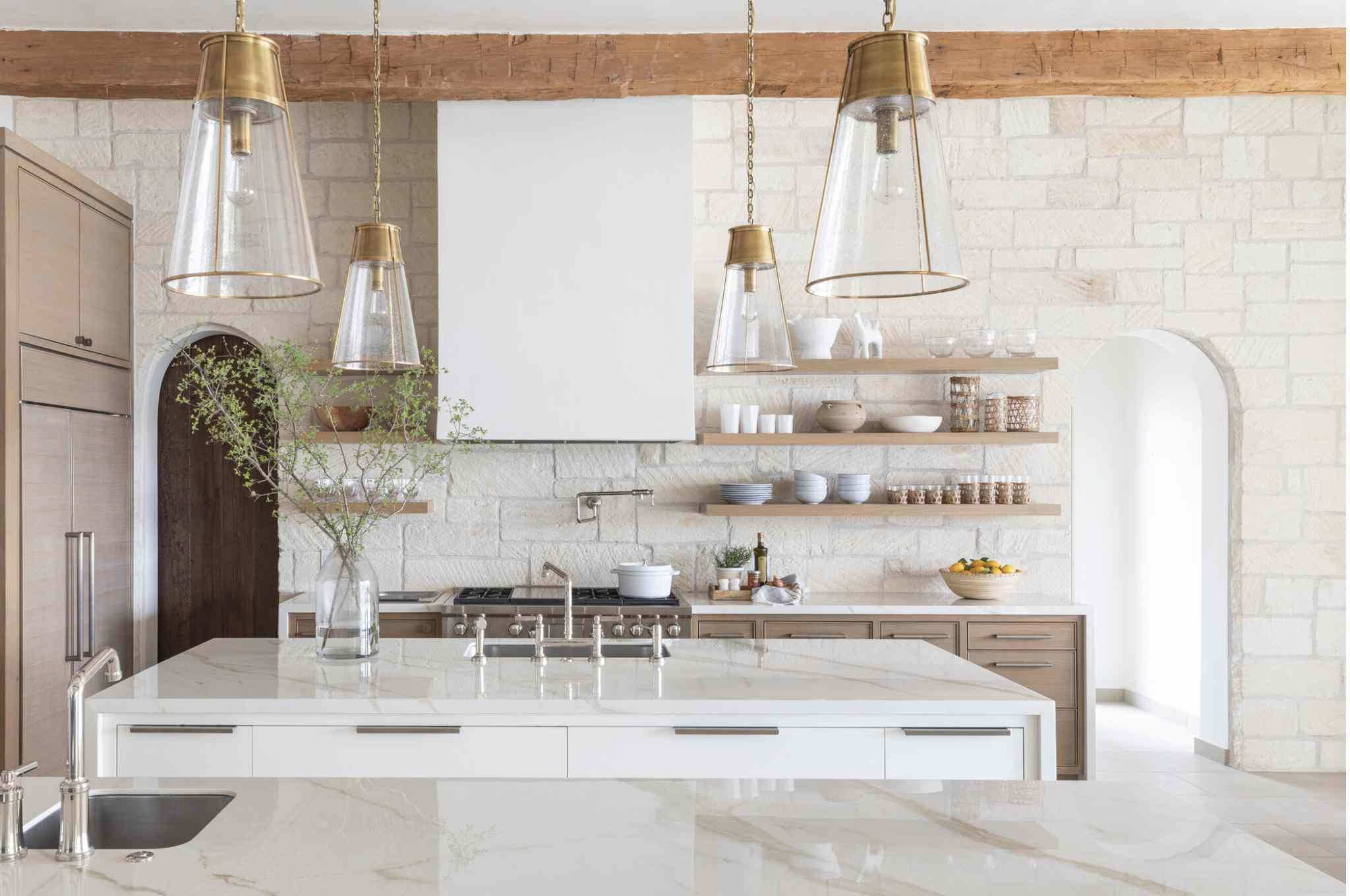 asymmetrical off white brick walls in kitchen