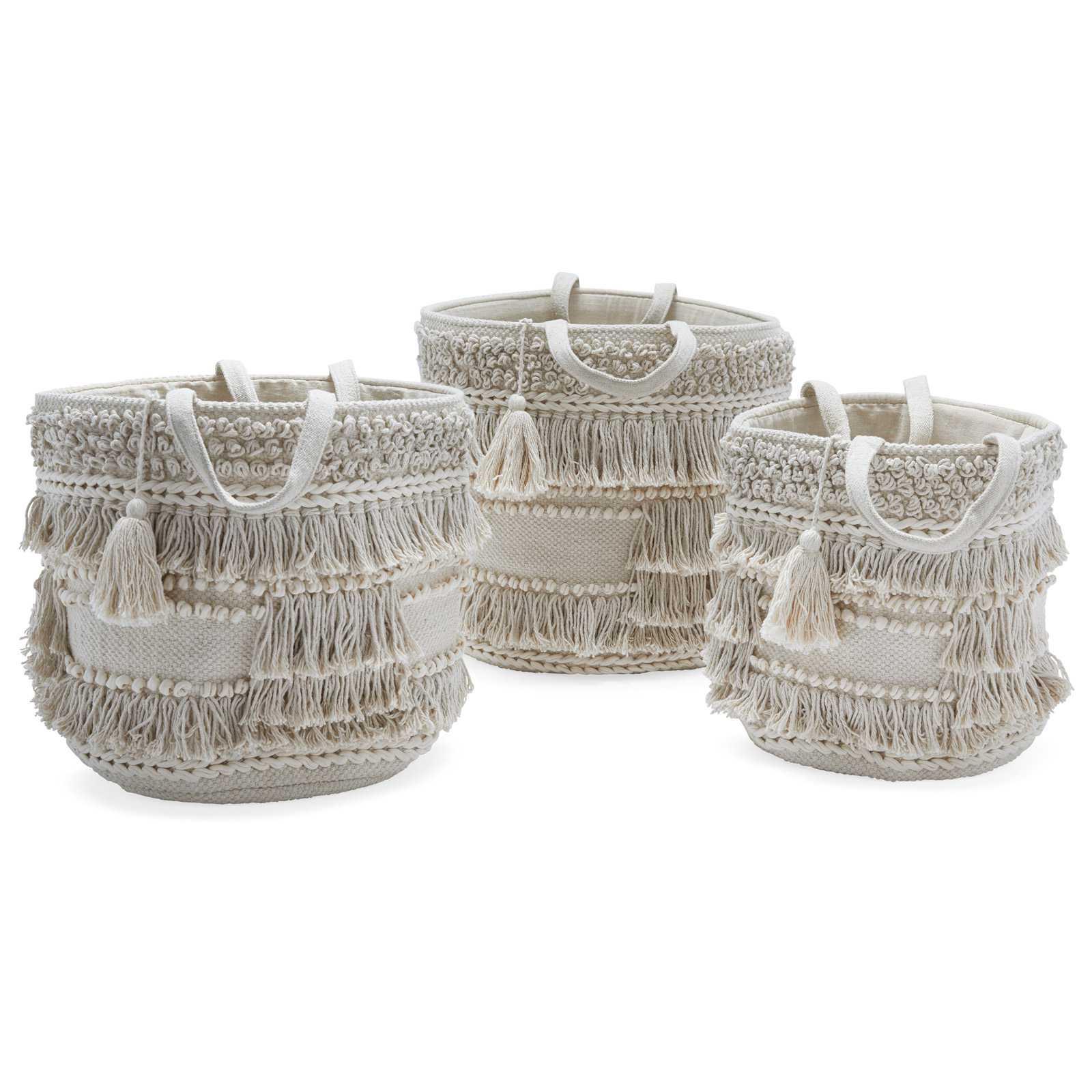 Drew Barrymore Hand Woven Macrame 3 Piece Basket Set