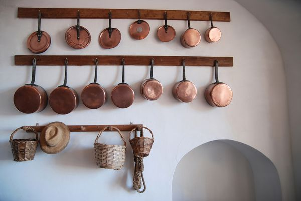 Copper pots hanging on racks