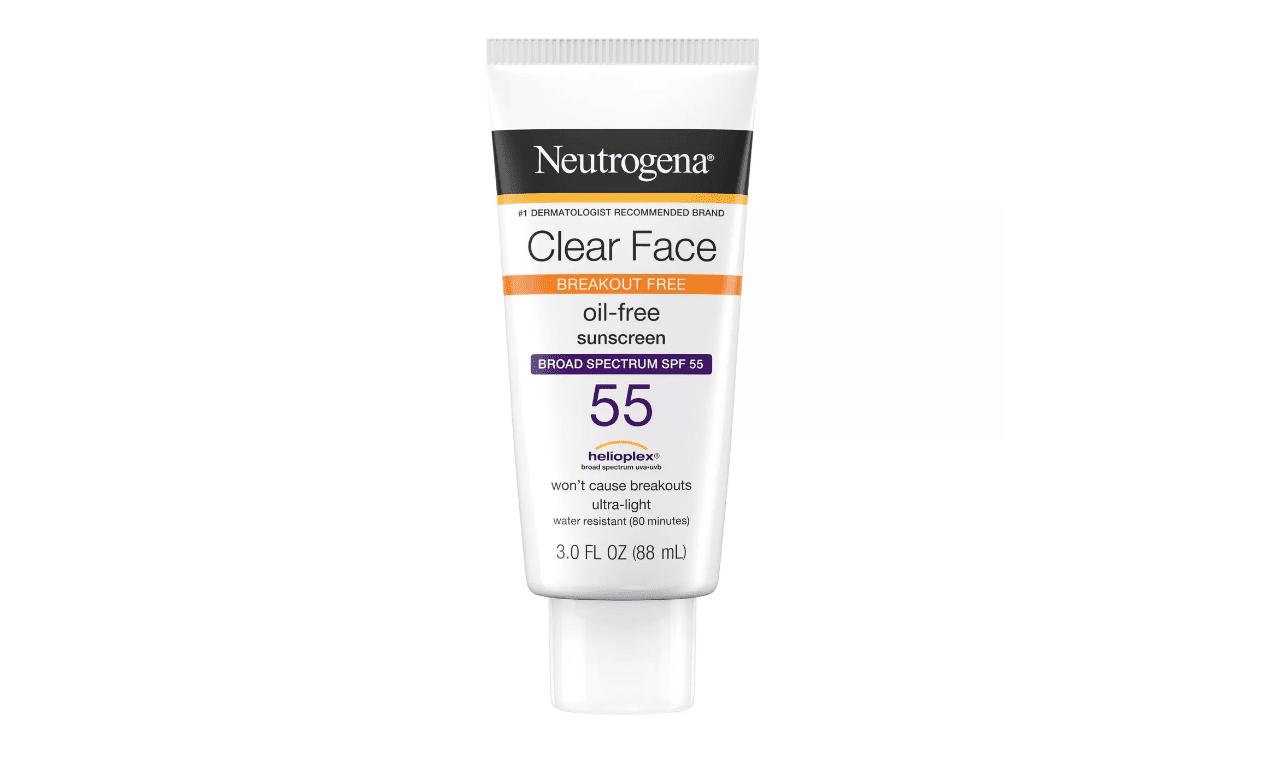 Un tubo de protector solar Neutrogena Clear Face sin aceite para el acné en Target.