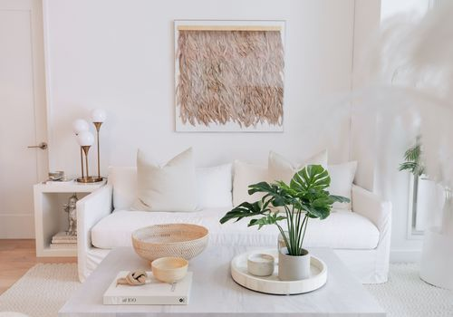 White sofa in living room next to monstera plant.