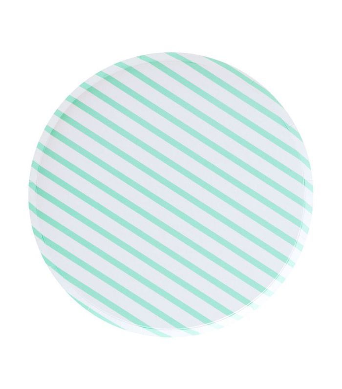 Witty Bash Mint Plates with Stripes