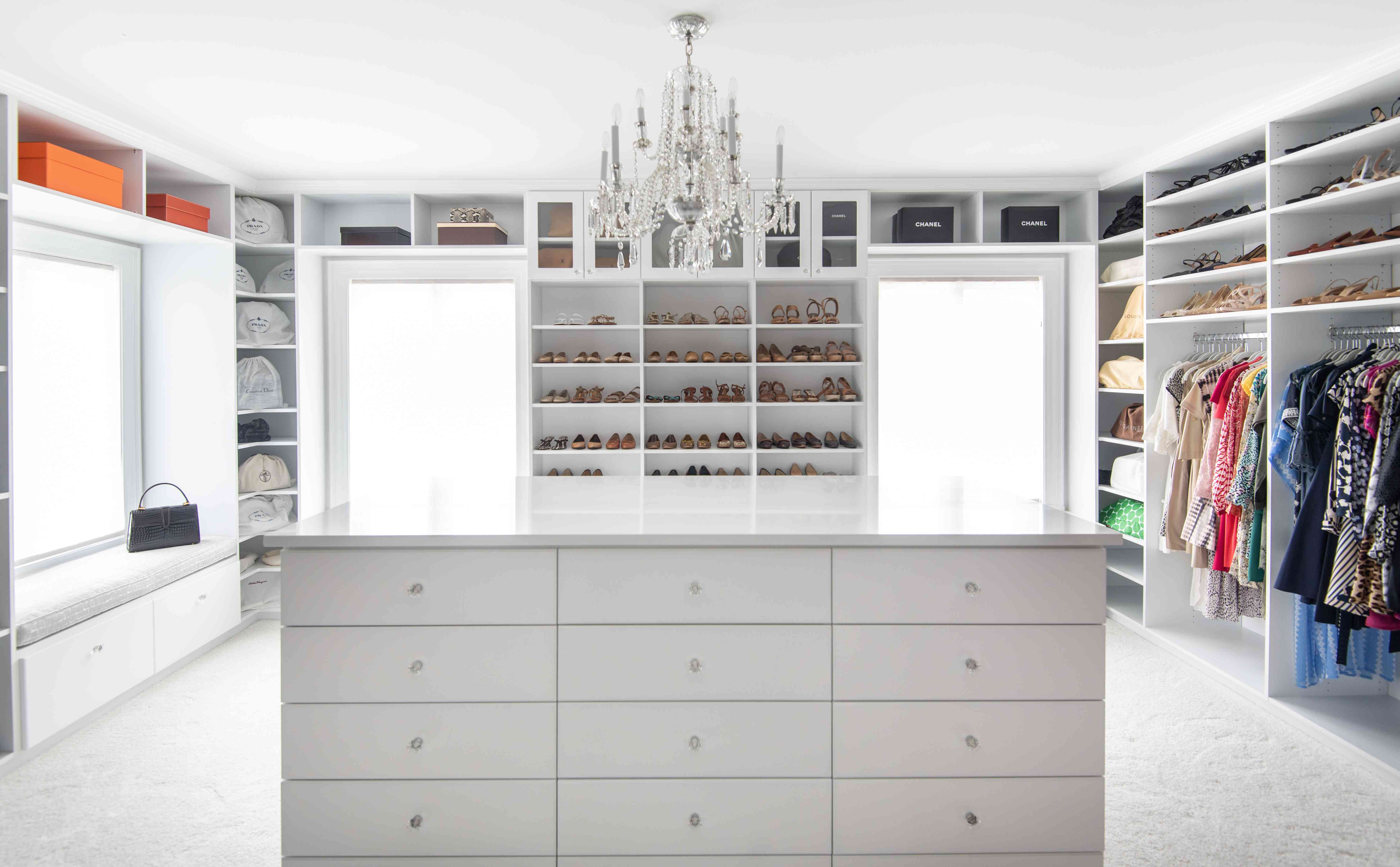 Large closet with multiple areas