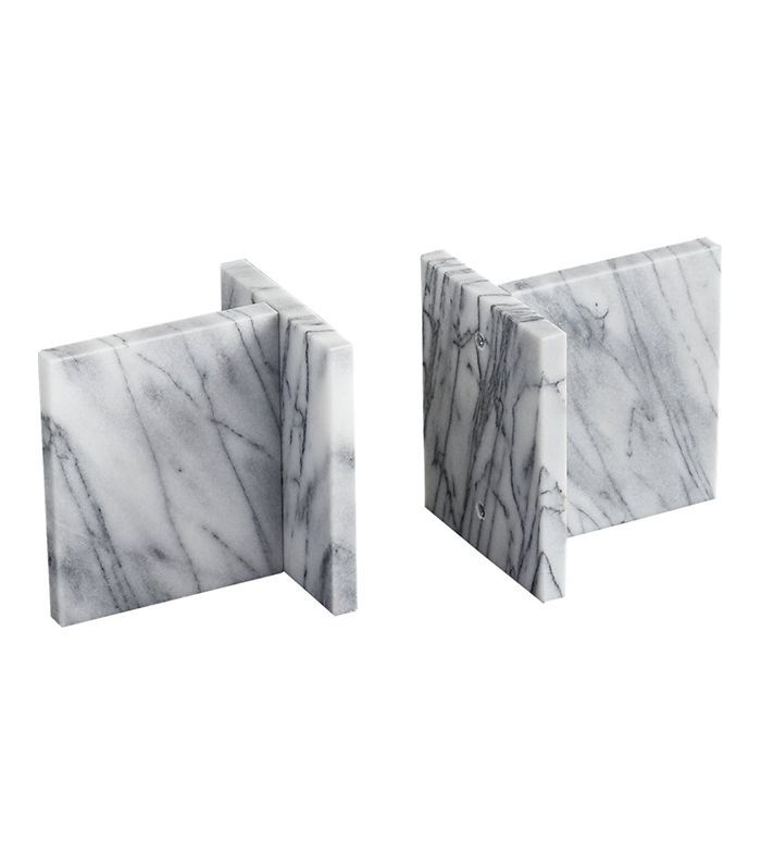 set of 2 endiron marble bookends
