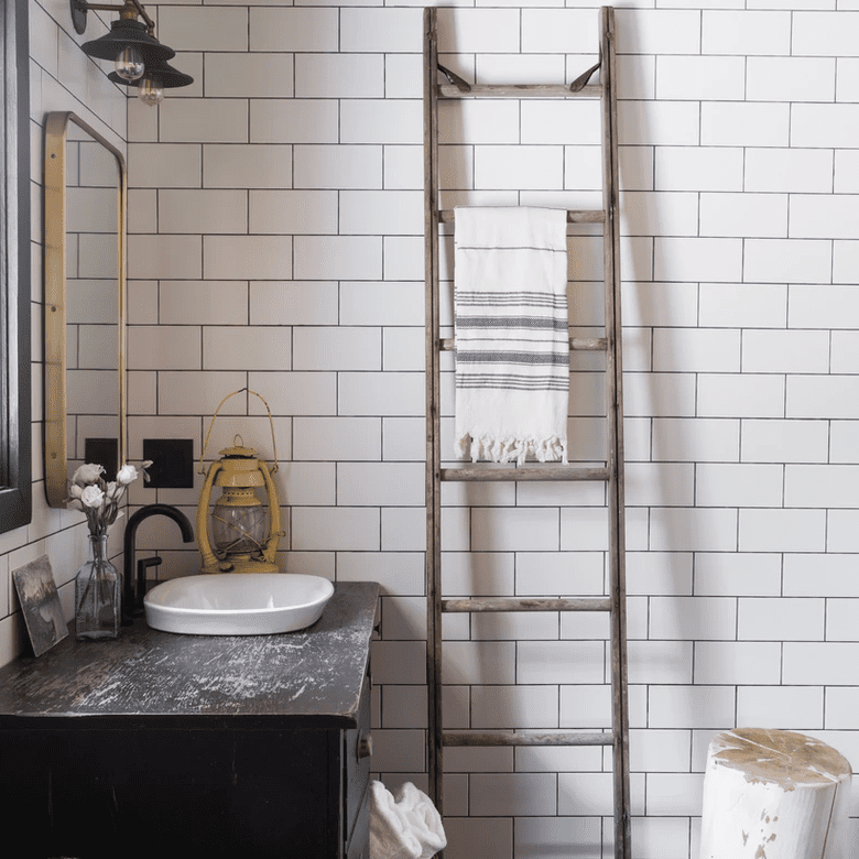 A powder room with a decorative ladder in it