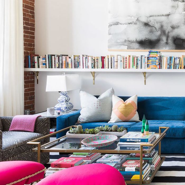 eclectic modern living room with brightly-colored furniture