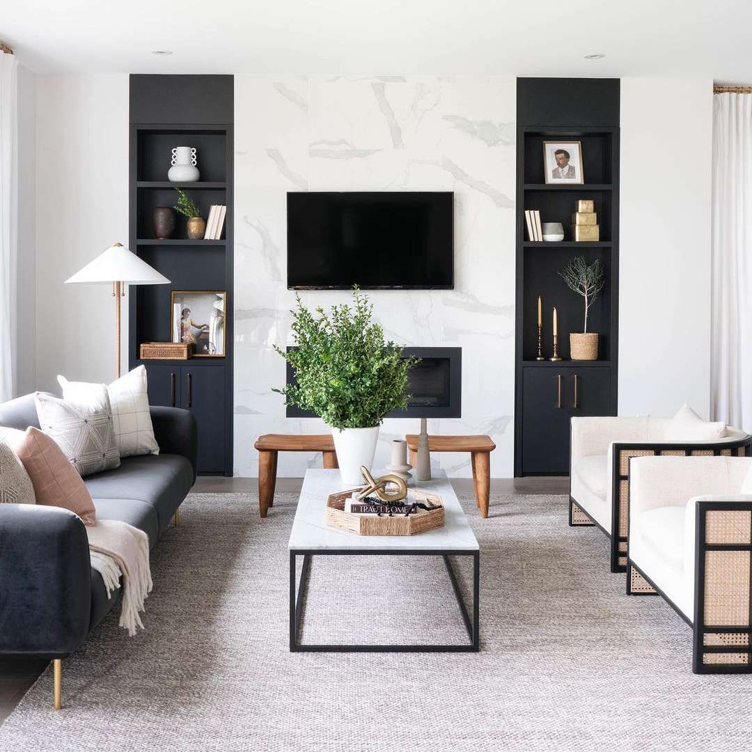 Living room with black builtins