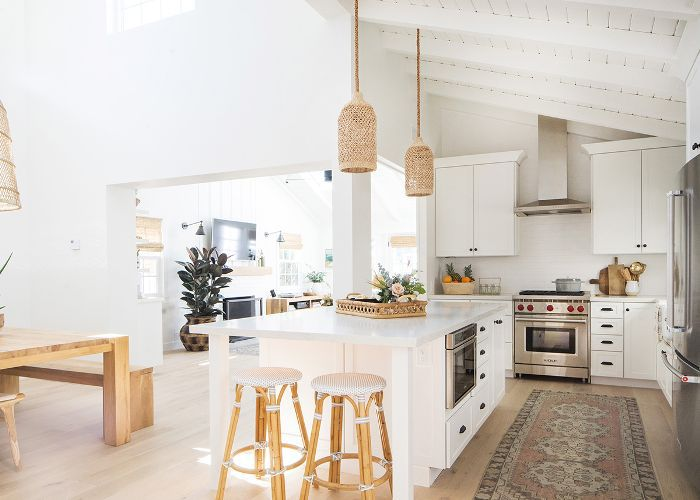 all-white kitchen of this California cottage