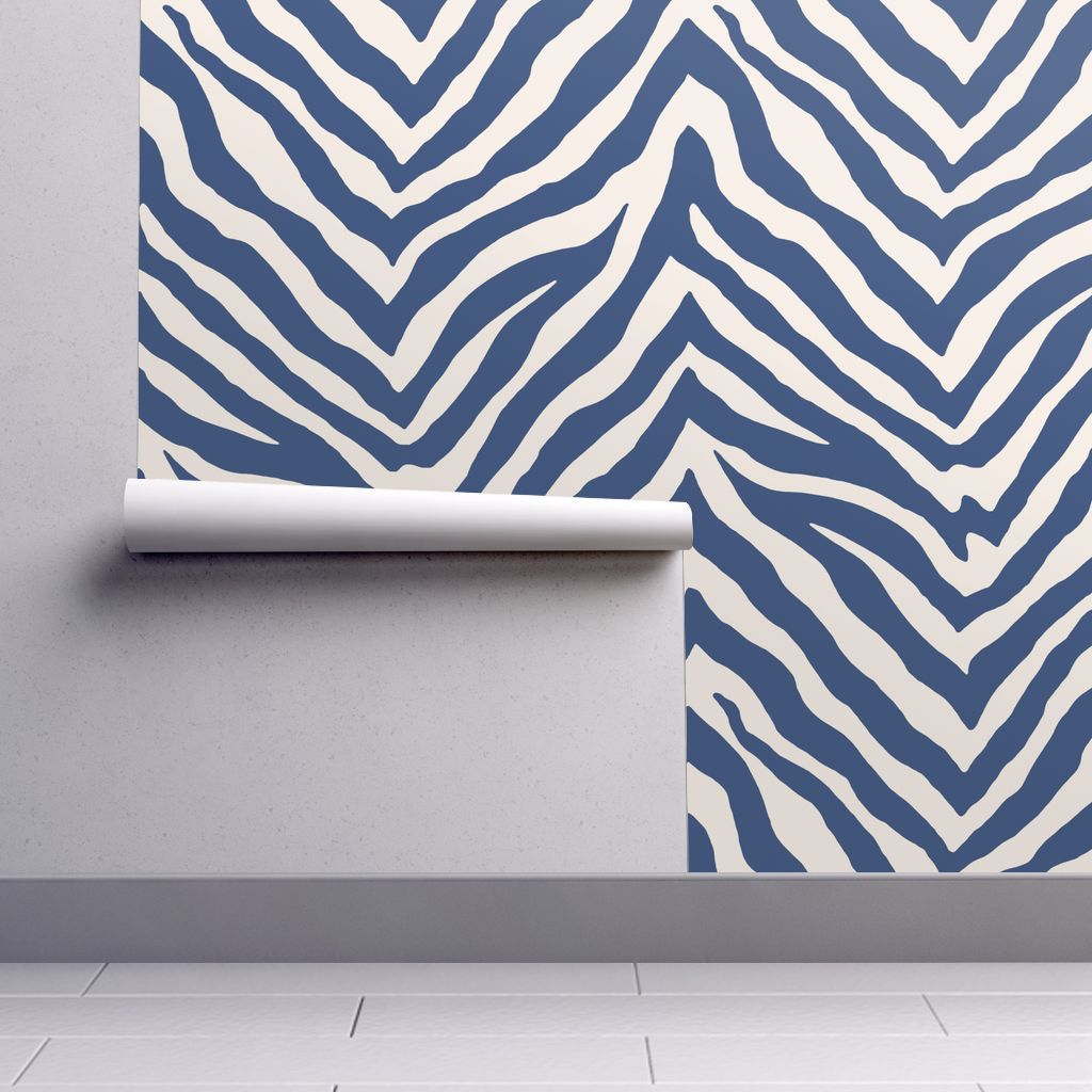 Navy zebra wallpaper
