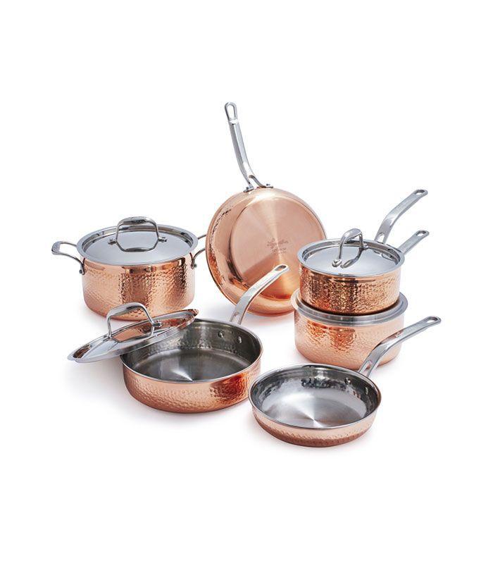 Juego de 10 piezas de cobre martillado Lagostina Martellata