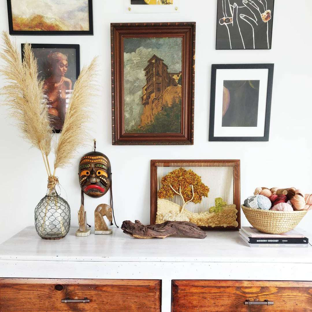 White wall with artwork