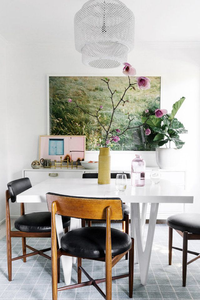 dining room with bold art