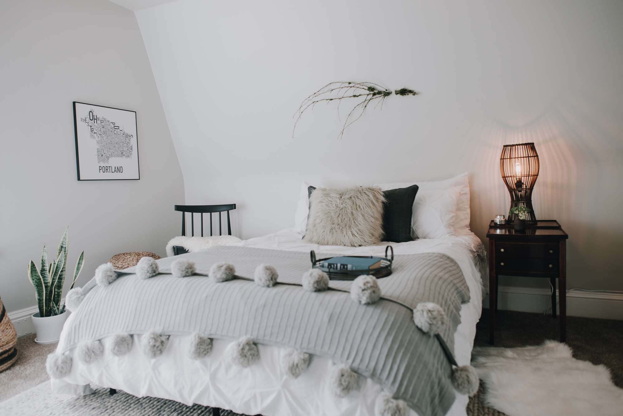 Bedroom with a tray