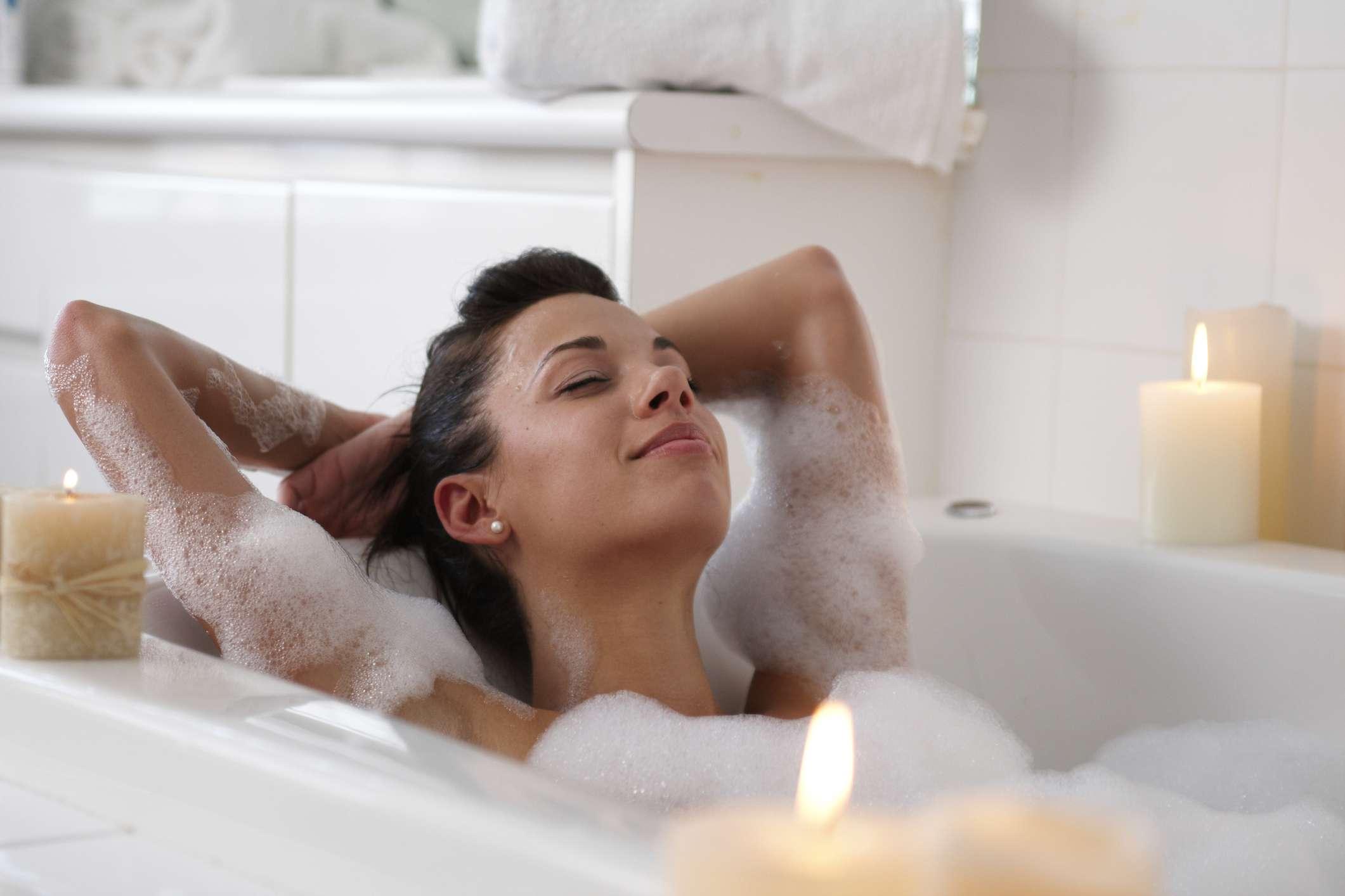 woman in bubble bath spa