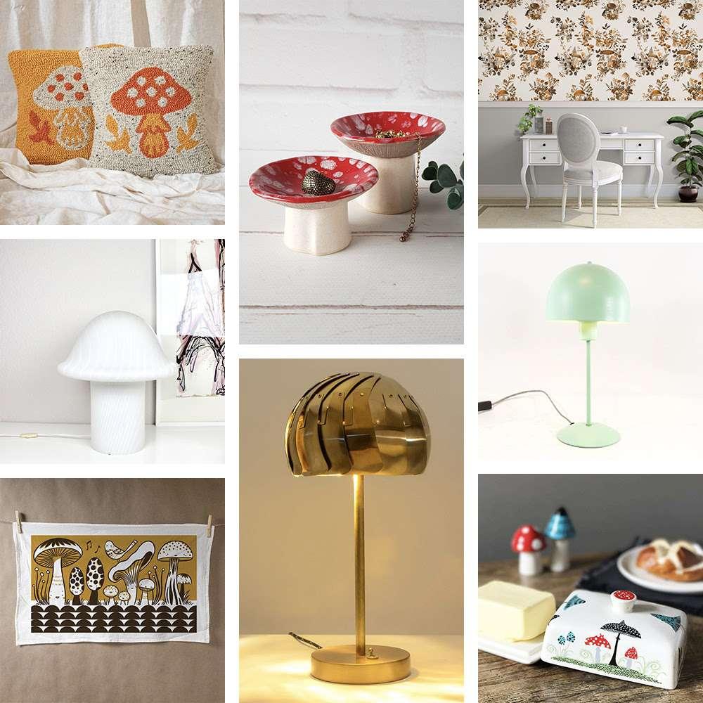 Collage of mushroom motif decor.