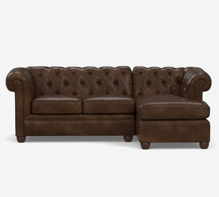 Chesterfield Roll Arm Leather Sofa Chaise Sectional