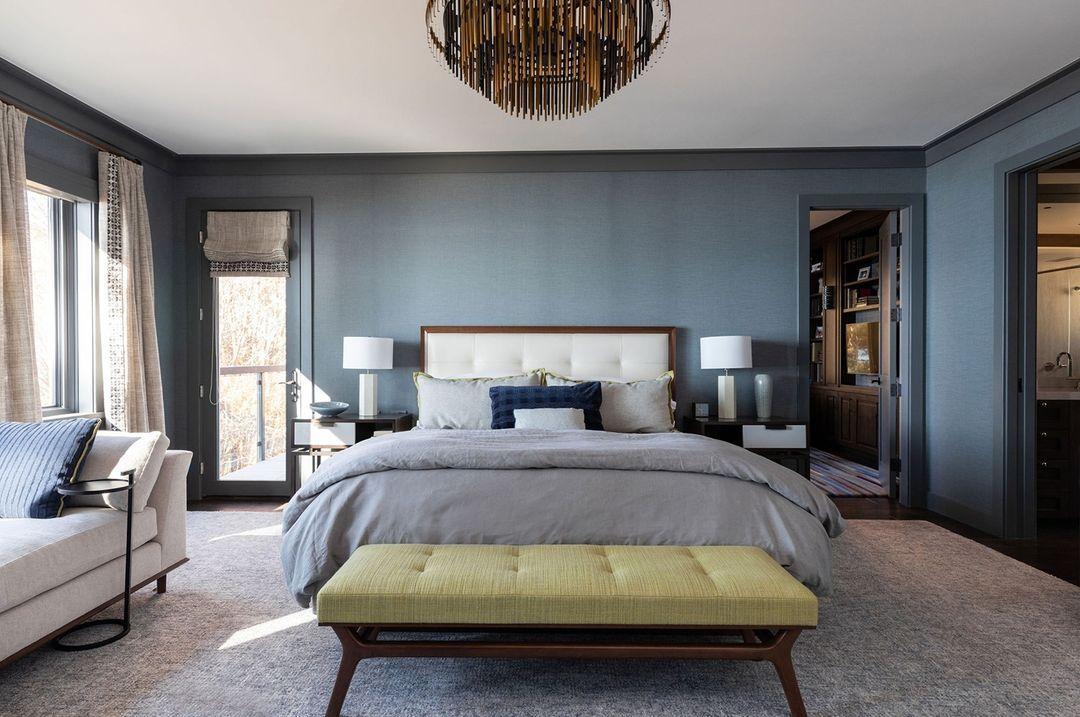 Bedroom with dark gray wall