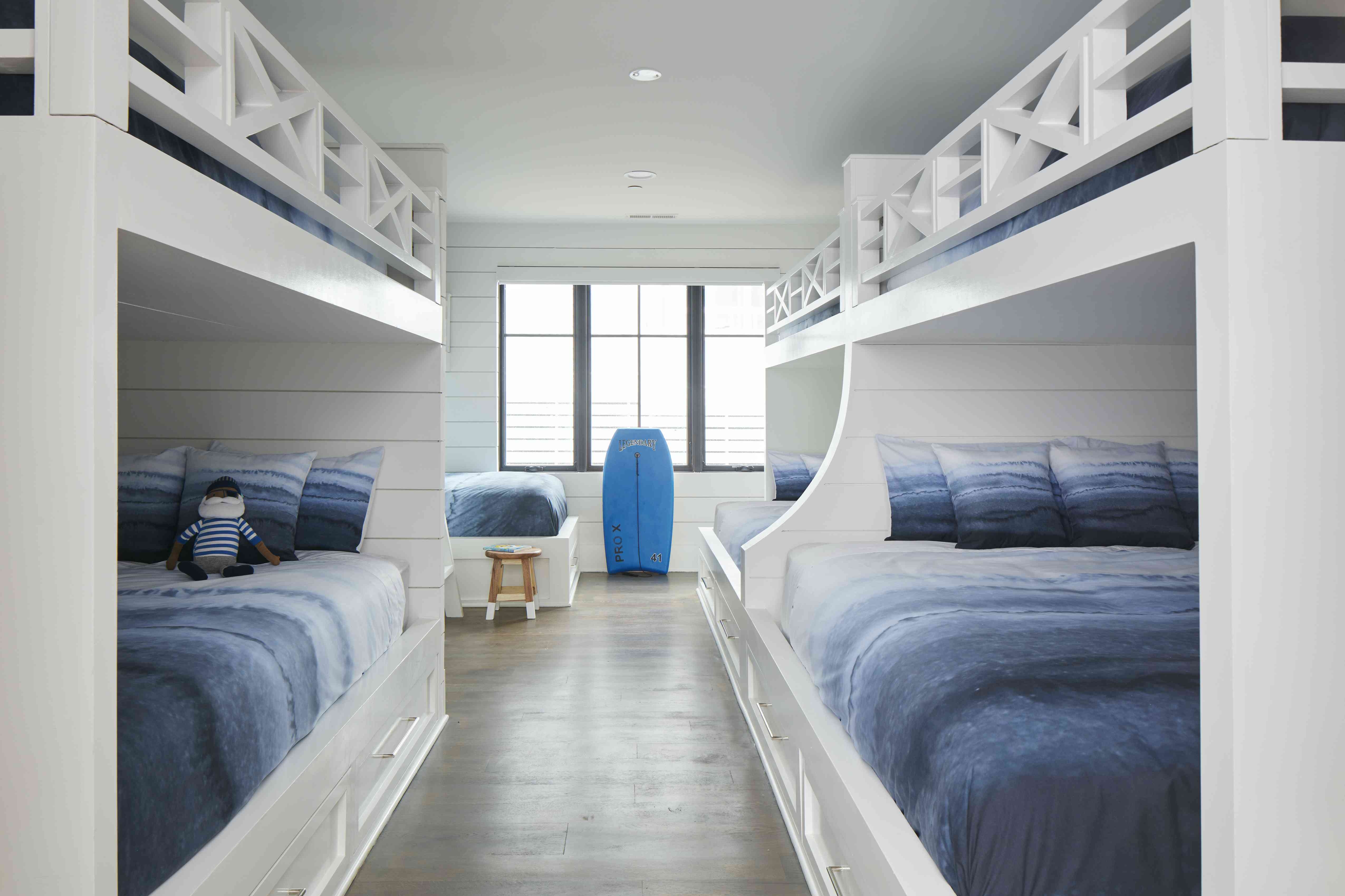 Blue and beachy bunk beds