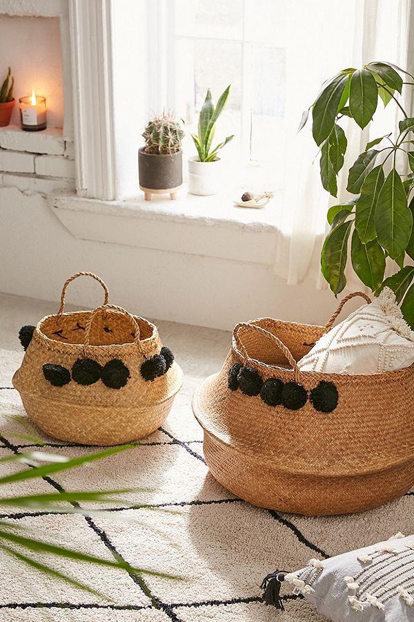 Pompom Wicker Basket