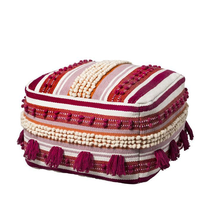 Target Lory Pouf Pink and Orange Textured With Tassels