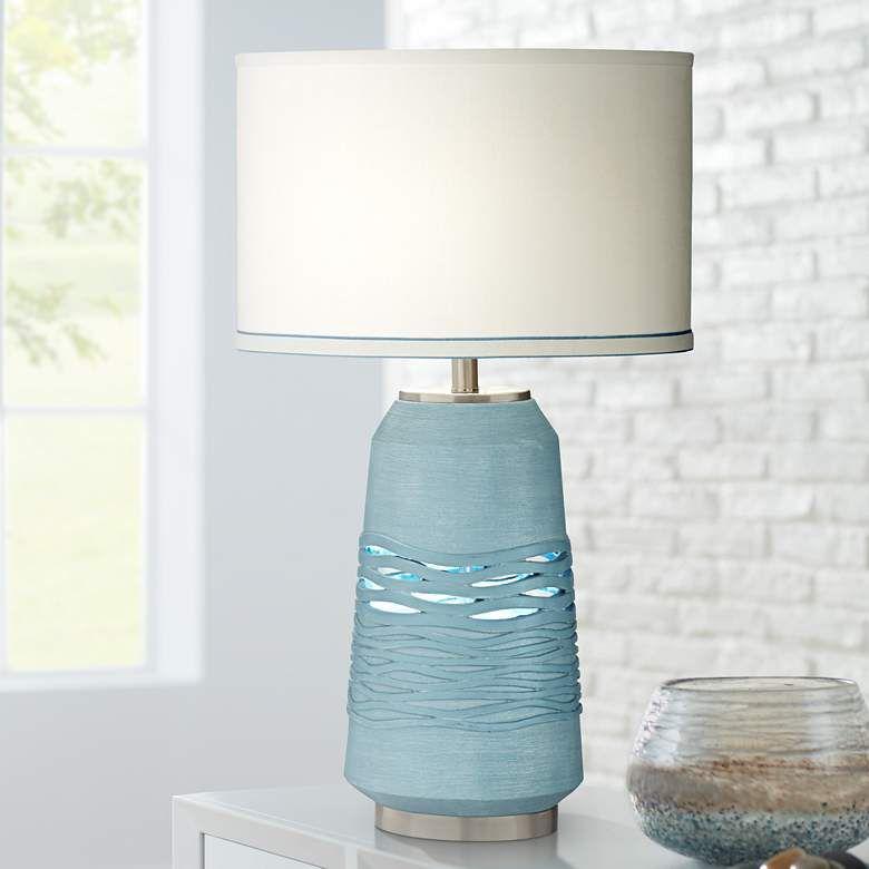 Riverton Ocean Medium Blue Stream - Lámpara de mesa con luz nocturna