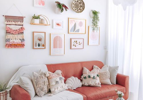 Pink toned living room
