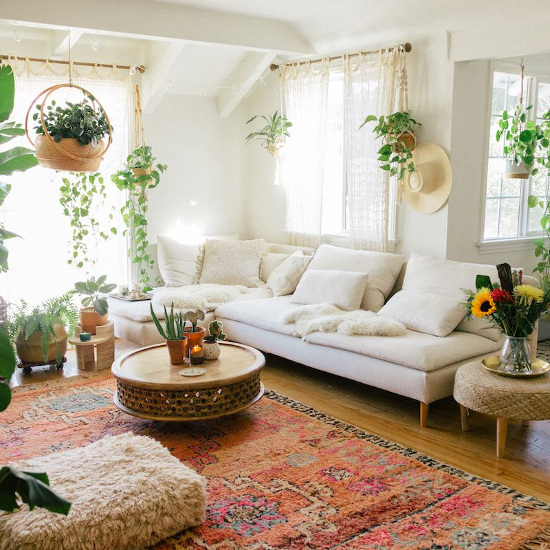 Living room with cozy rug