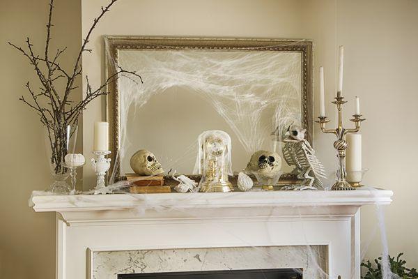 Halloween decorations on a mantel