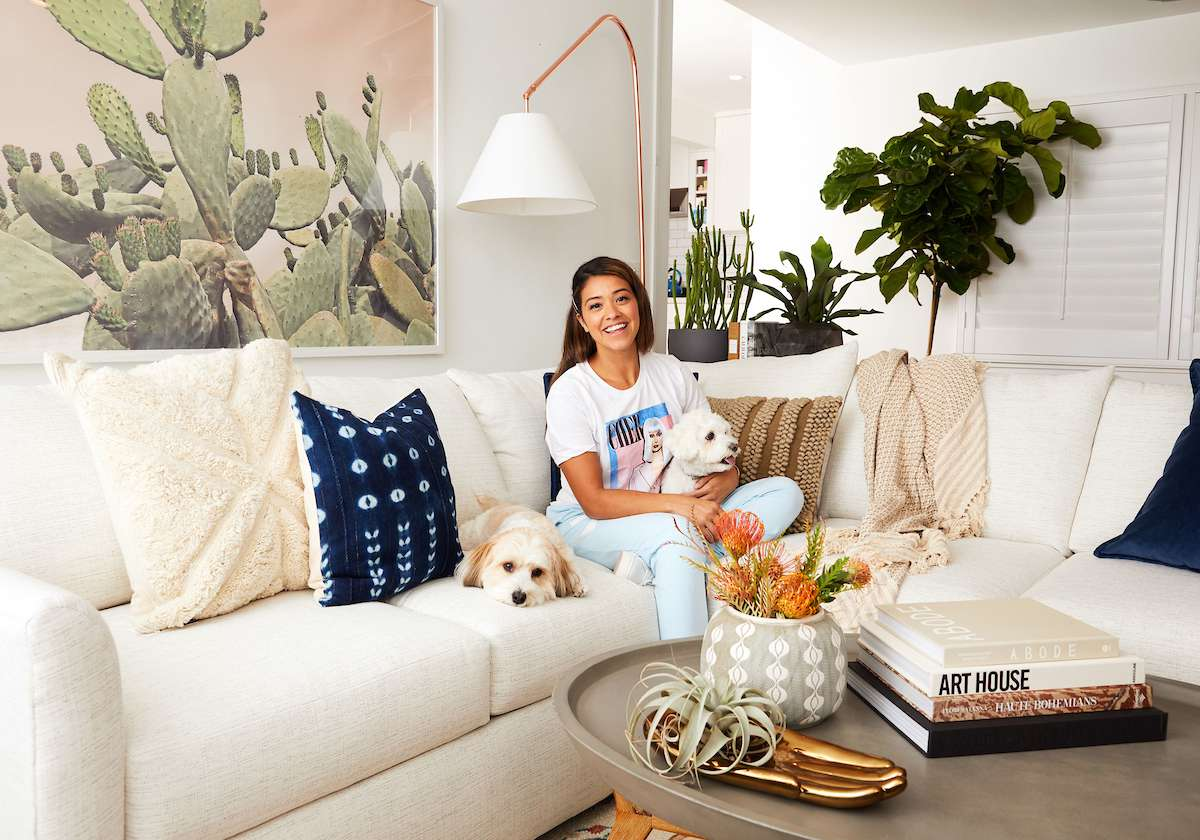 Step Inside Gina Rodriguez's Beachy Boho Living Room