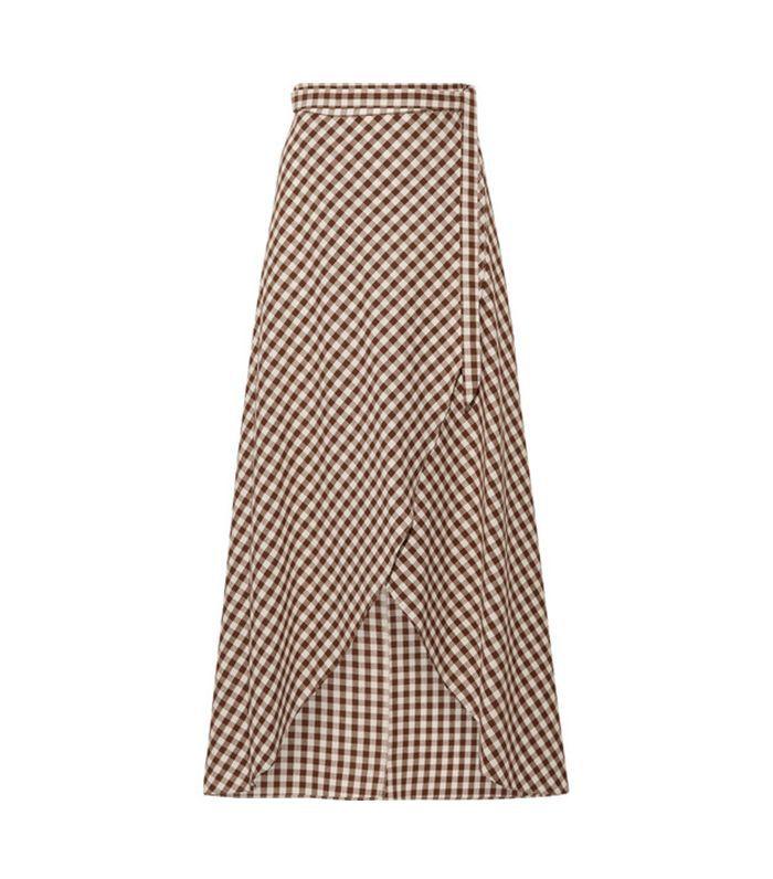 Gingham Cotton Wrap Maxi Skirt