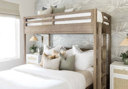 best bunk beds - beachy bedroom with twin over full bunk beds
