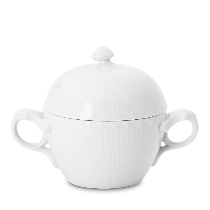 White Fluted Half Lace Sugar Bowl