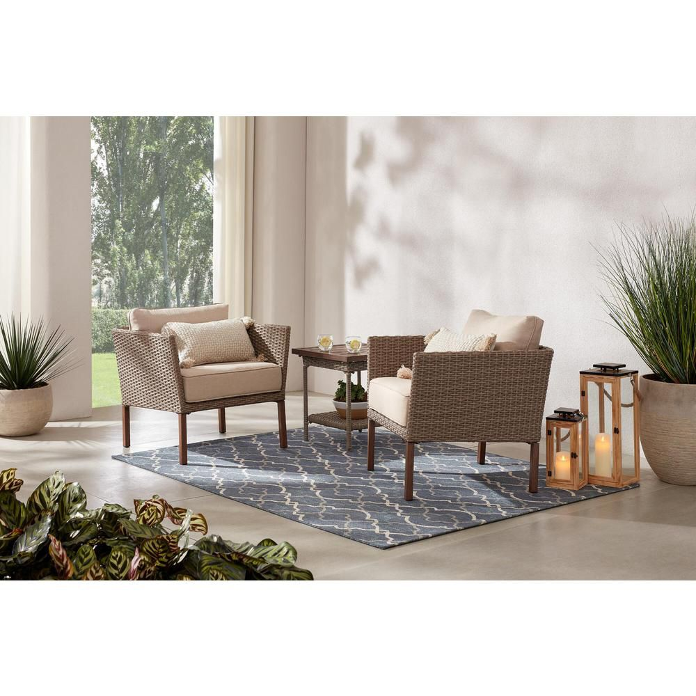 Oakshire 3-Piece Wicker Outdoor Patio Conversation Set with Tan Cushions