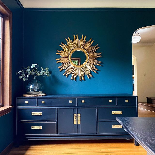 navy wall and dresser