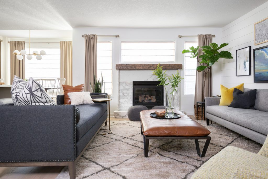 Family room focused around a cozy fireplace