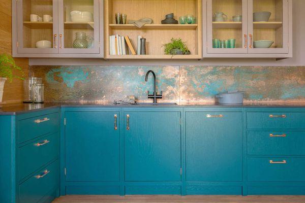 blue kitchen with drinkware