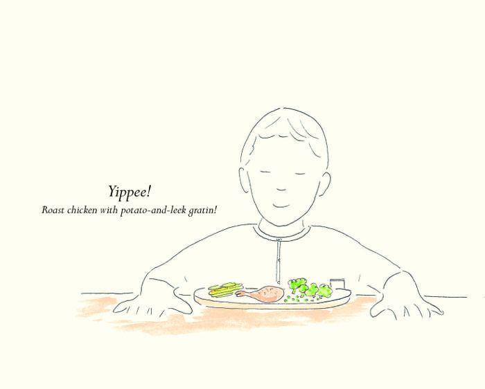 Una ilustración de un niño cenando