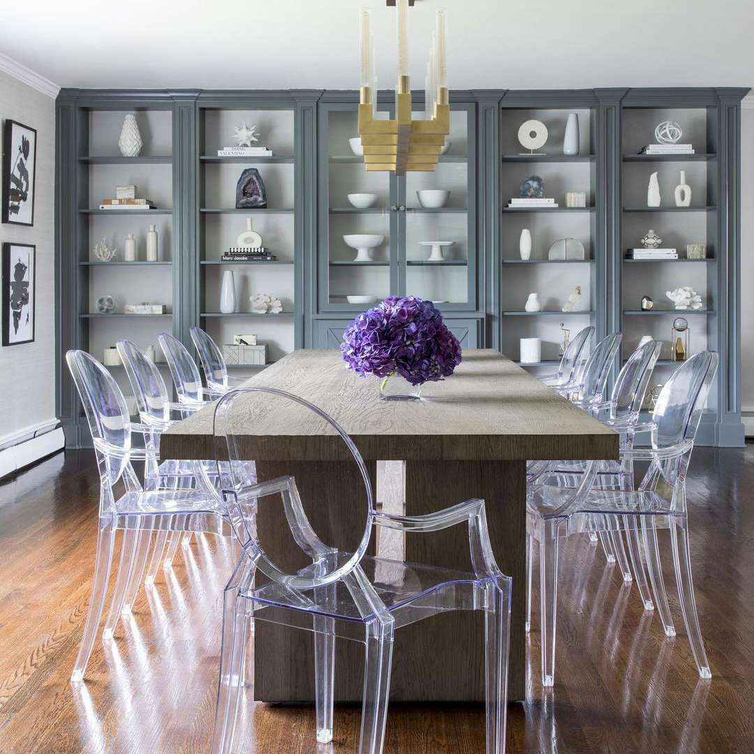 Blue shelving system in dining room