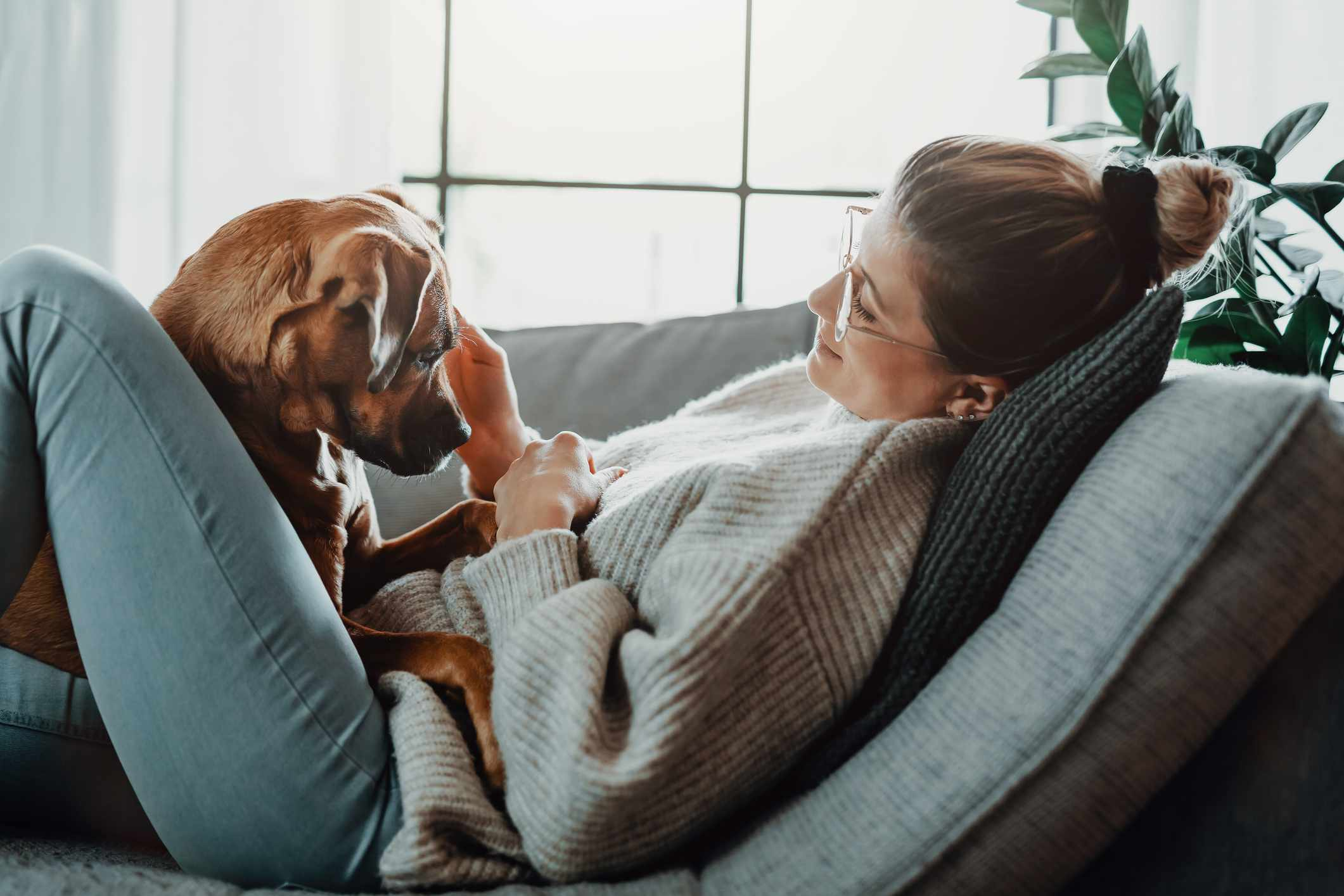 woman and dog on couch